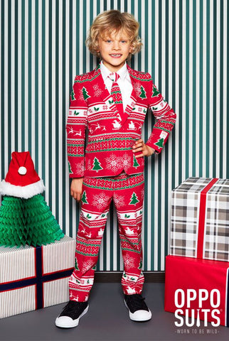 If your little angel wears this suit during the holidays, the whole family will instantly be jolly. And let's be honest: watching your boy showing off this suit is way more fun than watching Home Alone for the 100th time. By the way, it's a good thing there's a lot of tasty food during the holidays, otherwise the family might want to eat the kid… It's just so sweet!