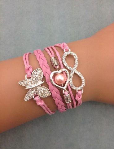 Bracelets - 3pcs Infinity Leather Bracelet