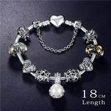 Bracelets - Silver And Flower Crystal Bracelet