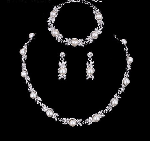Bridal Set - Mecresh 3 Pcs/Sets Simulated Pearl Bridal Jewelry Sets