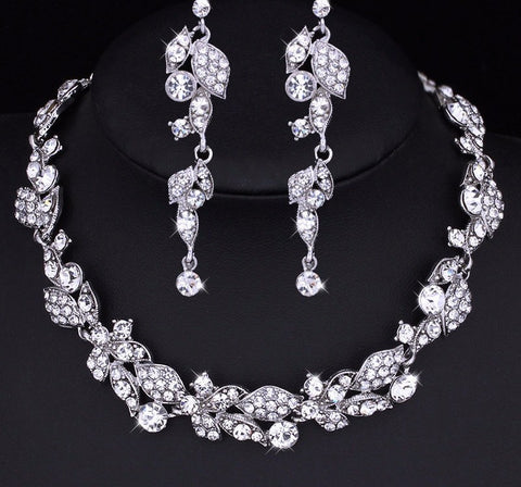 Bridal Set - Mecresh Leaf Crystal Wedding Jewelry Set