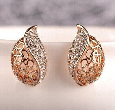 Earrings - Hollow Leaf Gold Plated Rhinestone Earrings