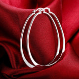 Earrings - Oval U Shape Edged Silver Plated Hoop Earrings
