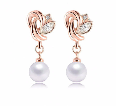 Earrings - Pearl Rose Gold Plate Earrings