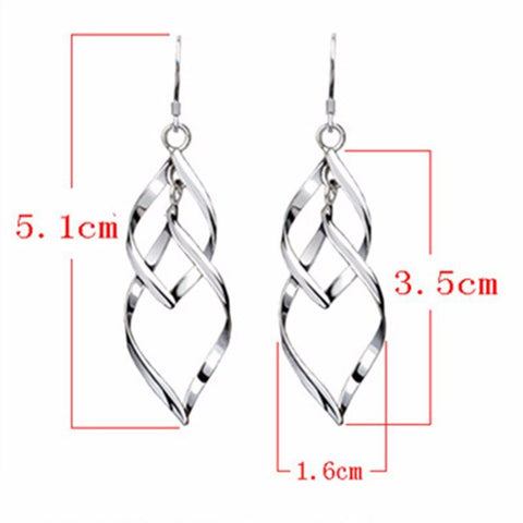 Earrings - Silver Leaf Drop Earrings