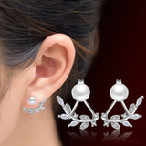 Earrings - Silver Leaves & Pearl Earrings