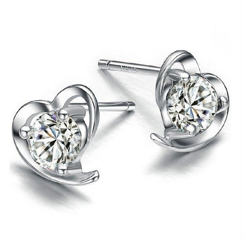 Earrings - Silver Plated Heart Stud Earrings
