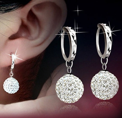 Earrings - Silver Platinum Plated Shining Crystal Earrings