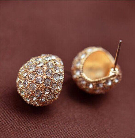 Earrings - Vintage Full Crystal Crescent Stud Earrings