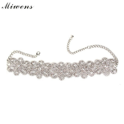 Necklace - Crystal Beads Flower Collar Choker