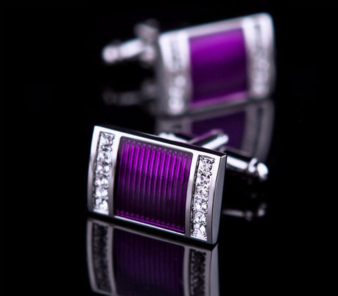 Tie Clips & Cufflinks - KFLK Crystal & Purple Cuff Links