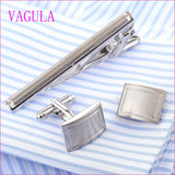 Tie Clips & Cufflinks - VAGULA Stylish Silver Cufflinks Tie Clip Set