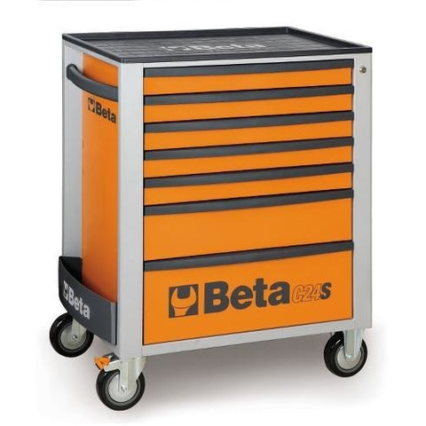 Beta Tools 2400 S7-O/VG3 Mobile Roller Cabinet C24S/7 + 132PCS-Roller Cabinet-Beta-Tools-Orange C24S/7 + 132PCS-Torque Toolboxes