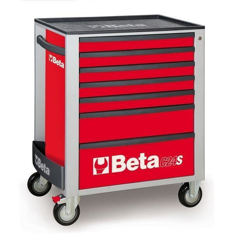Beta Tools 2400 S7-O/VG3 Mobile Roller Cabinet C24S/7 + 132PCS-Roller Cabinet-Beta-Tools-Red C24S/7 + 132PCS-Torque Toolboxes