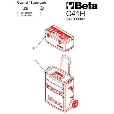 Beta Tools 4100H VU/5 Two Module Tool Trolley C41H + 109 PCS-Tool Trolley-Beta-Tools-Torque Toolboxes