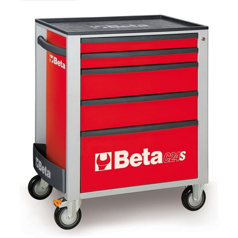 Beta Tools - 5-Drawer, Roller Cabinet - C24S5-Roller Cabinet-Beta Tools-Red-Torque Toolboxes
