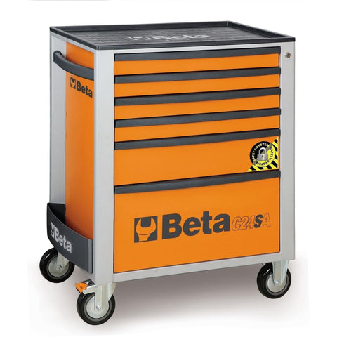 Beta Tools - 6-Drawer, Anti-Tilt, Roller Cabinet - C24SA/6-Roller Cabinet-Beta Tools-Orange-Torque Toolboxes