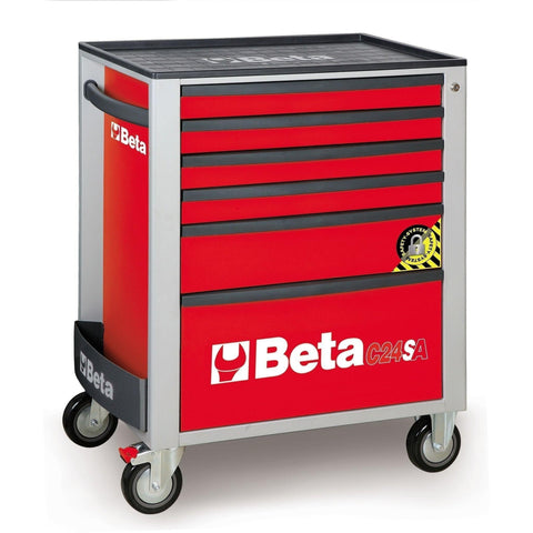 Beta Tools - 6-Drawer, Anti-Tilt, Roller Cabinet - C24SA/6-Roller Cabinet-Beta Tools-Red-Torque Toolboxes