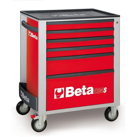 Beta Tools - 6-Drawer, Roller Cabinet - C24S/6-Roller Cabinet-Beta Tools-Red-Torque Toolboxes