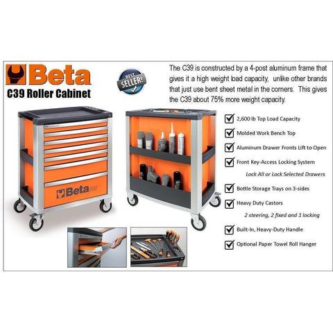 Beta Tools 6 Drawer Roller Cabinet C39 6-Roller Cabinet-Beta-Tools-Torque Toolboxes