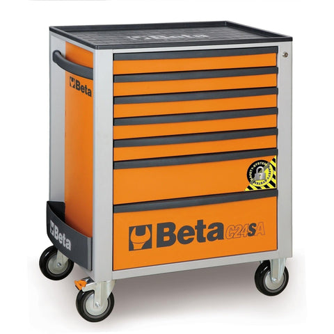 Beta Tools - 7-Drawer, Anti-Tilt, Roller Cabinet - C24SA/7-Roller Cabinet-Beta Tools-Orange-Torque Toolboxes