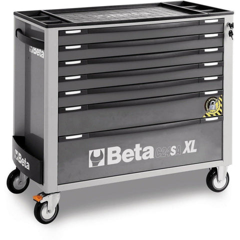 Beta Tools - 7-Drawer, Anti-Tilt, Roller Cabinet, Long - C24SA-XL/7-Roller Cabinet-Beta Tools-Grey-Torque Toolboxes