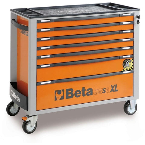 Beta Tools - 7-Drawer, Anti-Tilt, Roller Cabinet, Long - C24SA-XL/7-Roller Cabinet-Beta Tools-Orange-Torque Toolboxes