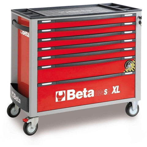 Beta Tools - 7-Drawer, Anti-Tilt, Roller Cabinet, Long - C24SA-XL/7-Roller Cabinet-Beta Tools-Red-Torque Toolboxes