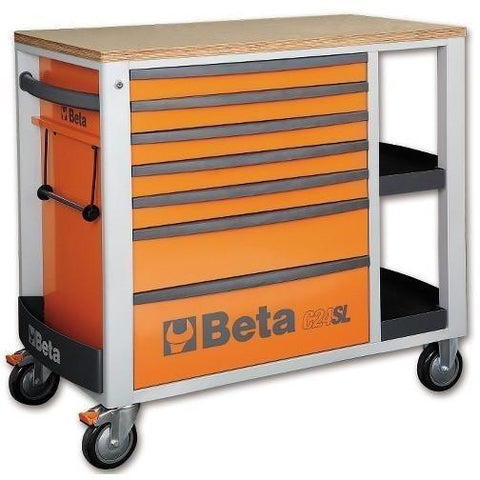Beta Tools - 7-Drawer, Roller Cabinet - C24SL-Roller Cabinet-Beta Tools-Orange-Torque Toolboxes