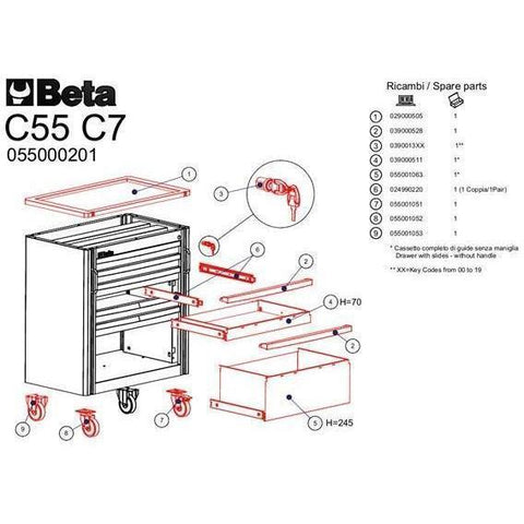 Beta Tools - 7-Drawer, Roller Cabinet - C55C7-Garage Furniture-Beta Tools-Torque Toolboxes