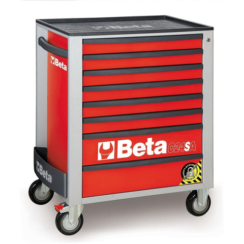 Beta Tools - 8-Drawer, Anti-Tilt, Roller Cabinet - C24SA/8-Roller Cabinet-Beta Tools-Red-Torque Toolboxes