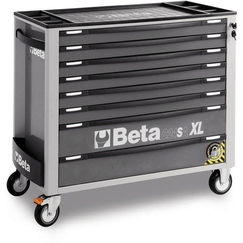 Beta Tools - 8-Drawer, Anti-Tilt, Roller Cabinet, Long - C24SA-XL/8-Roller Cabinet-Beta Tools-Grey-Torque Toolboxes