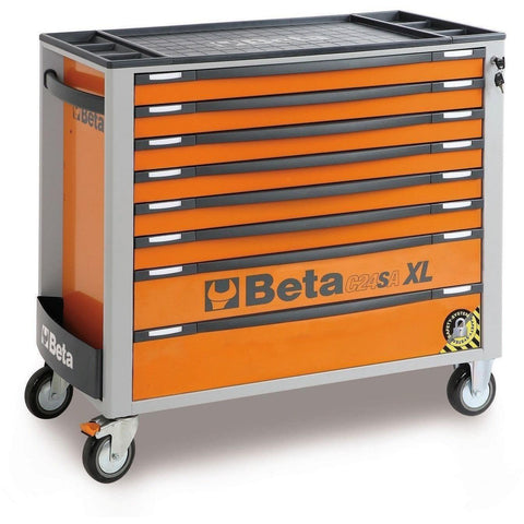 Beta Tools - 8-Drawer, Anti-Tilt, Roller Cabinet, Long - C24SA-XL/8-Roller Cabinet-Beta Tools-Orange-Torque Toolboxes
