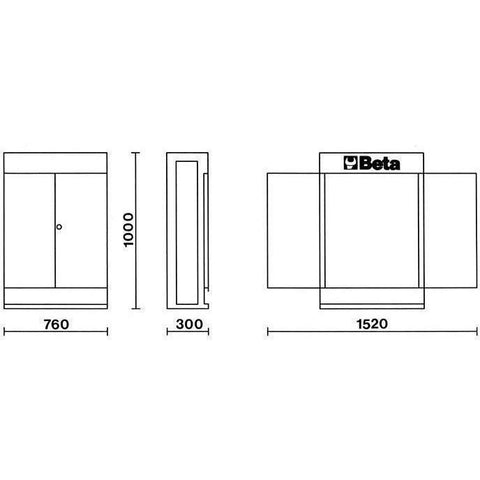 Beta Tools - Cargo Evolution™ - Wall Tool Cabinet Without Panels - C53-Tool Cabinet-Beta Tools-Torque Toolboxes