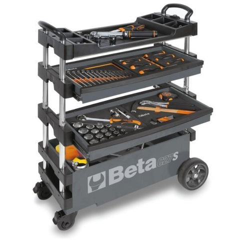 Beta Tools - Folding Tool Trolley - C27S-Tool Trolley-Beta Tools-Grey-Torque Toolboxes