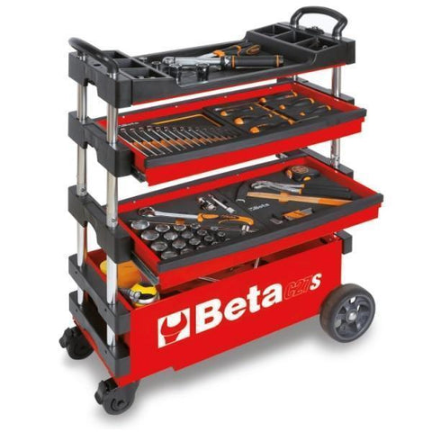 Beta Tools - Folding Tool Trolley - C27S-Tool Trolley-Beta Tools-Red-Torque Toolboxes