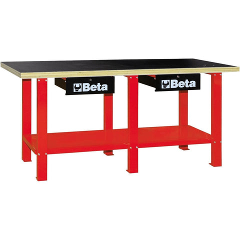 Beta Tools - Wood-Top, Workbench - C56W-Workbench-Beta Tools-Red-Torque Toolboxes