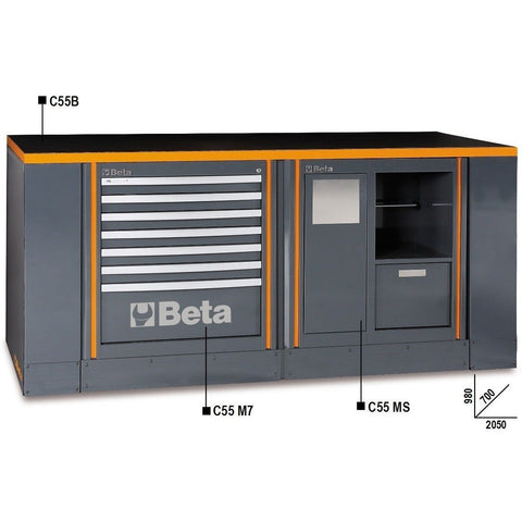 Beta Tools Workbench C55B/2 M7+MS-Garage Furniture-Beta-Tools-Torque Toolboxes