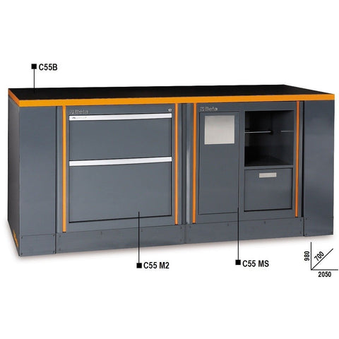 Beta Tools Workbench C55B/6 M2+MS-Garage Furniture-Beta-Tools-Torque Toolboxes