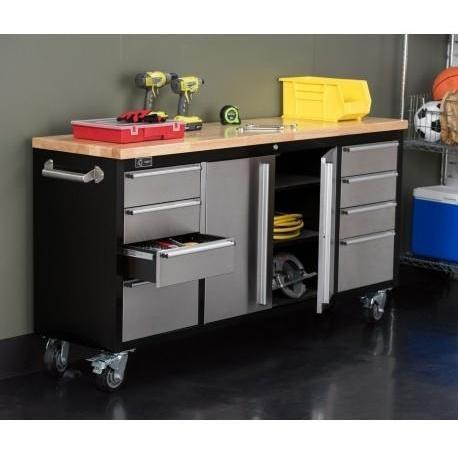 "Trinity - 72"" Rolling Workbench, Black and Stainless Steel-Workbench-Trinity-Torque Toolboxes"