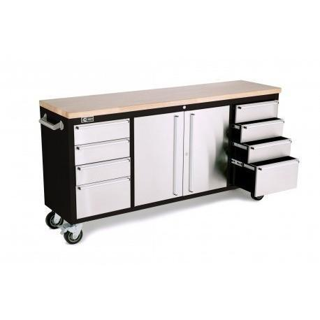 "Trinity 72"" Rolling Workbench Black and Stainless Steel-Workbench-Trinity-Torque Toolboxes"
