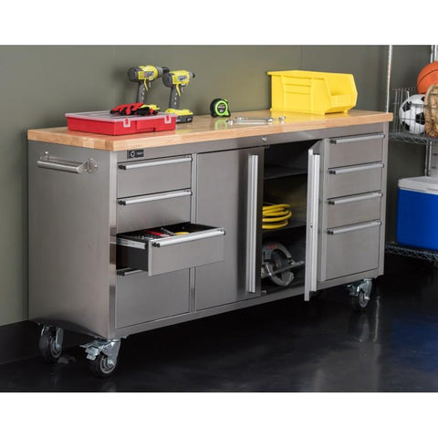 "Trinity - 72"" Rolling Workbench, Stainless Steel-Workbench-Trinity-Torque Toolboxes"