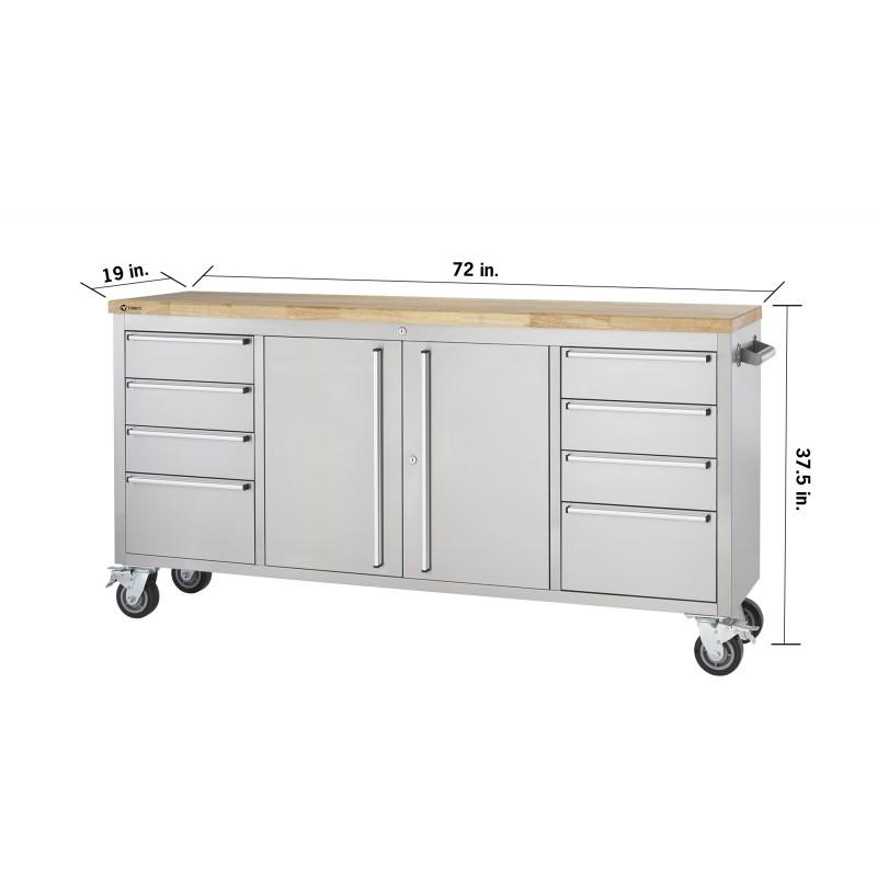 Swell Trinity 72 Rolling Workbench Black And Stainless Steel Spiritservingveterans Wood Chair Design Ideas Spiritservingveteransorg