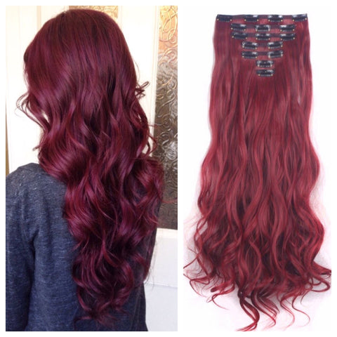 Clip in hair extensions red collection one sixty accessories dark red hair dark red hair extensions dark red clip in hair extensions pmusecretfo Choice Image