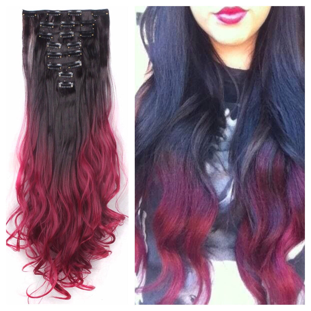 Dark Red Ombre Hair Uphairstyle