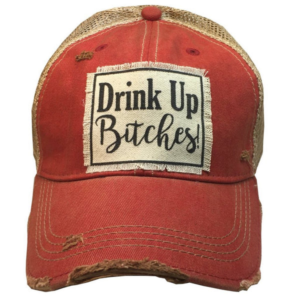 Distressed Trucker Cap - Red - Drink Up Bitches!