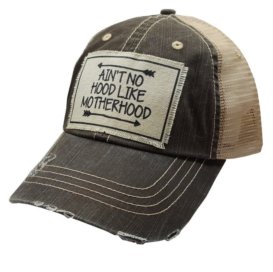 Distressed Trucker Cap -  Distressed Black - Ain't No Hood Like Motherhood