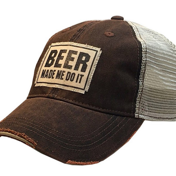 Distressed Trucker Cap - Brown - Beer Made Me Do It