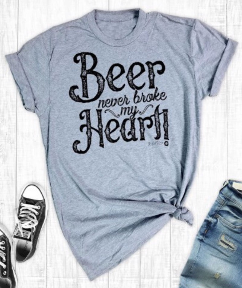 Women's Soft Graphic Tee - Grey Beer Never Broke My Heart