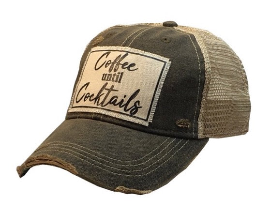 Distressed Trucker Cap - Distressed Black - Coffee Until Cocktails